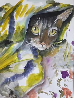 Painting - I See You .modern Pet Portrait In Watercolor. by Vali Irina Ciobanu