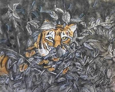 Art Print featuring the painting I See You... Orange Tiger by Kelly Mills