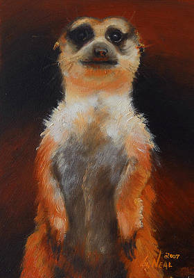 Meerkat Painting - I See You Too by Greg Neal