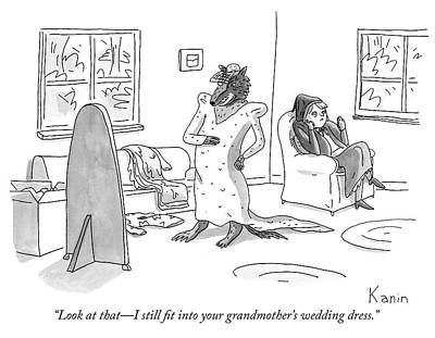 1 Drawing - I Still Fit Into Your Grandmothers Wedding Dress by Zach Kanin