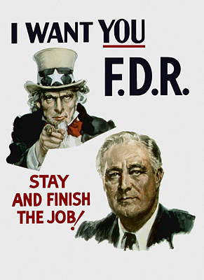 Uncle Sam Painting - I Want You Fdr  by War Is Hell Store