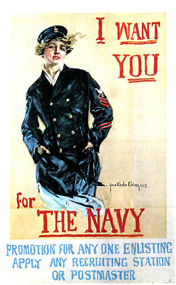 Mixed Media - I Want You For The Navy - Recruiting Advertisement - Vintage Propaganda Poster by Studio Grafiikka