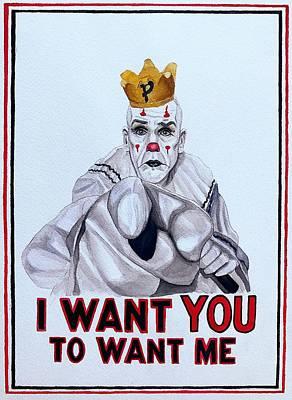 Sad Clown Painting - I Want You To Want Me by SarahjewelAZ SarahjewelAZ