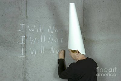 Dunce Cap Photograph - I Will Not Woman Wearing Dunce Cap by Karen Foley