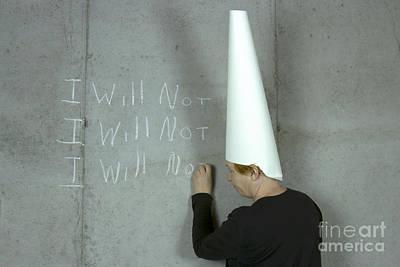 Dunce Caps Photograph - I Will Not Woman Wearing Dunce Cap by Karen Foley