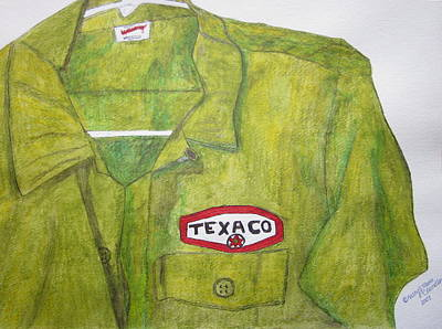 Art Print featuring the painting I Worked At Texaco by Kathy Marrs Chandler