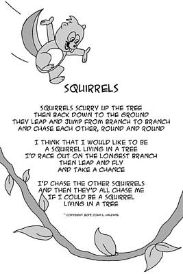 Drawing - I Would Like To Be A Squirrel by John Haldane