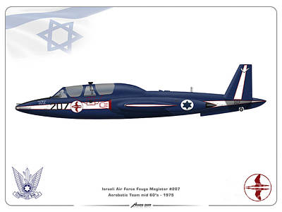 Digital Art - Iaf Aerobatic Team Fouga Magister by Amos Dor