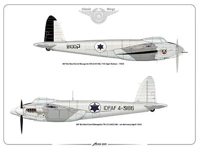 Print featuring the digital art Iaf Mosquito II by Amos Dor