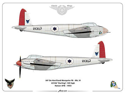 Print featuring the digital art Iaf Mosquito IIi by Amos Dor
