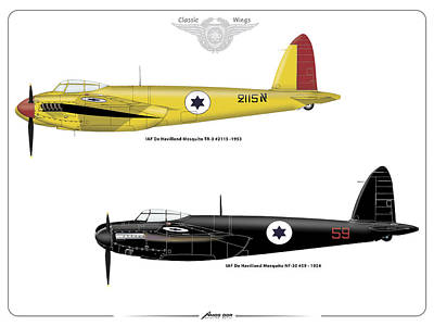 Print featuring the digital art Iaf Mosquito Iv by Amos Dor