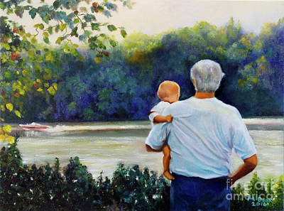 Painting - Ian And His Daddy One Sunday Afternoon by Marlene Book