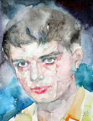 Painting - Ian Curtis - Watercolor Portrait.2 by Fabrizio Cassetta