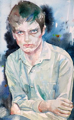 Painting - Ian Curtis - Watercolor Portrait.3 by Fabrizio Cassetta