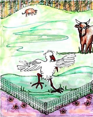 Ibis Drawing - Ibis Hopping by Carol Allen Anfinsen
