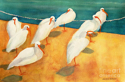 Ibis On The Beach Original by Sharon Nelson-Bianco