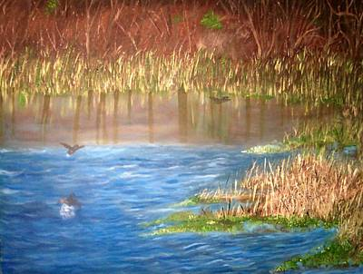 In Earth Tones Painting - Ibis Pond by Brenda Luczynski