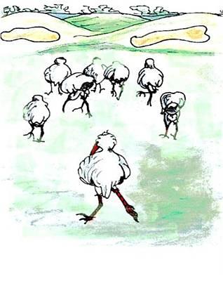 Ibis Drawing - Ibis Tries To Keep Up by Carol Allen Anfinsen