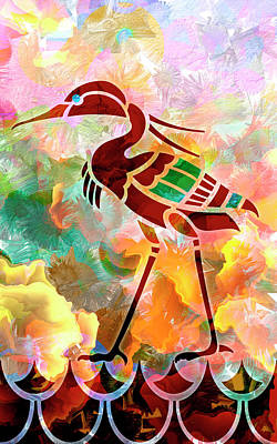 Ibis Mixed Media - Ibis Wades In - Vintage Art Deco Bird Illustration  by Rayanda Arts