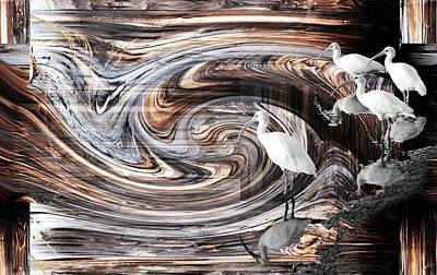 Photograph - Ibis With Wood Abstract by rd Erickson