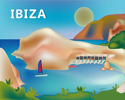 Ibiza Digital Art - Ibiza Spain Horizontal Scene by Karen Young