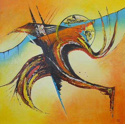 Globalwarming Painting - Icarus #1 by Ank Draijer