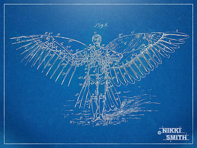 Angel Blues Digital Art - Icarus Flying Machine Patent Artwork by Nikki Marie Smith