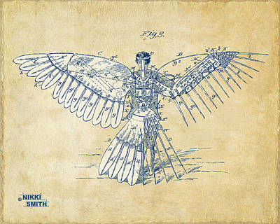 Drawing - Icarus Human Flight Patent Artwork - Vintage by Nikki Smith