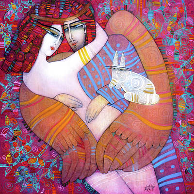 Painting - Icarus Kiss With A White Rabbit by Albena Vatcheva