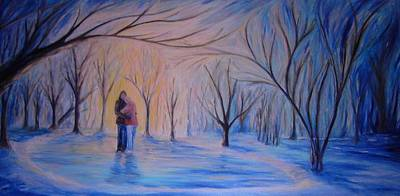 Park Scene Painting - Ice And Embers by Daniel W Green