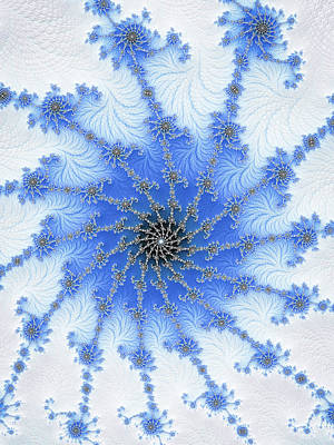 Digital Art - Ice And Snow Blue And White Winter Fractal by Matthias Hauser