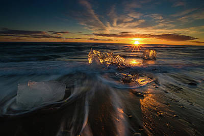 Photograph - Ice Beach Sunset by Allen Biedrzycki