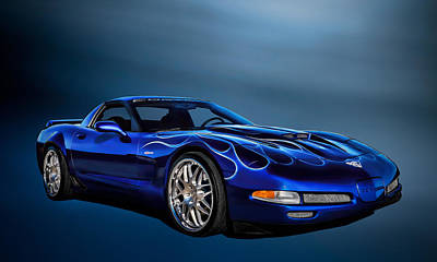 Sportscars Digital Art - Ice Blue C5 by Douglas Pittman