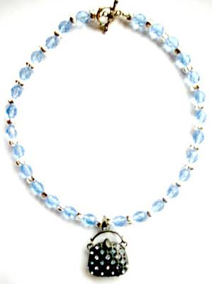 Toggle Clasp Jewelry - Ice Blue Crystals With Purse by Pat Stevens