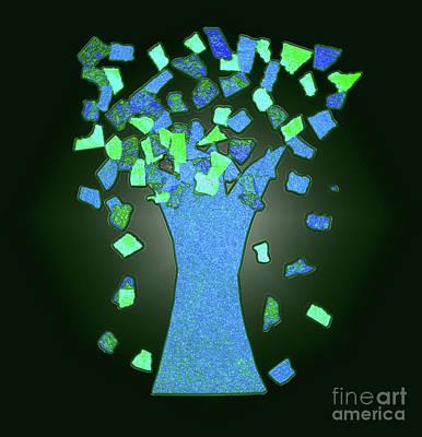 Ice Blue Tree Abstract Art Print