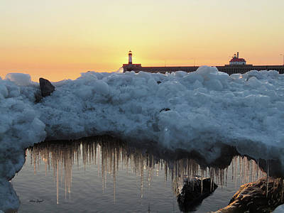Duluth Canal Park Canal Park Lighthouse Lighthouse Lake Superior Minnesota Photograph - Ice Bridge by Alison Gimpel