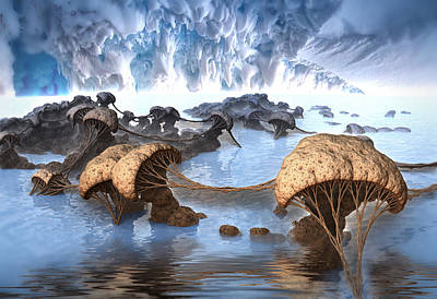 Digital Art - Ice Cavern by Hal Tenny
