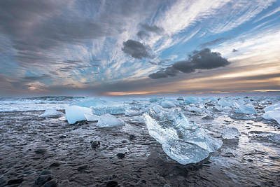 Ice Chunks Sunset 2 Art Print