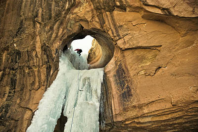 Photograph - Ice Climber In Arch by Whit Richardson