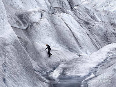 Waterfall Photograph - Ice Climber On Mendenhall Glacier, Juneau, Alaska   by Dani Prints and Images