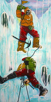 Ice Climbing Painting - Ice Climbers by V Boge