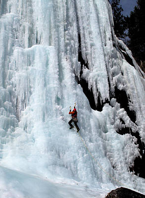 Ice Climbing In The Adirondack Mountains Of New York At Pok-o-moonshine Cliff Print by Brendan Reals