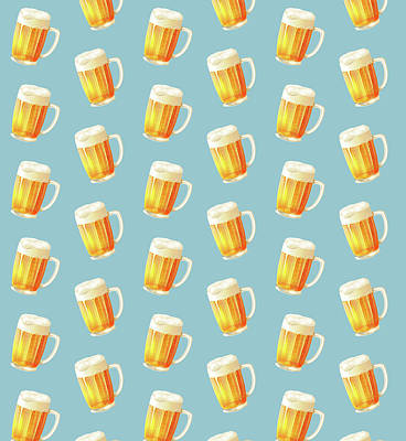 Octoberfest Painting - Ice Cold Beer Pattern by Little Bunny Sunshine