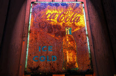 Old Coke Sign Wall Art - Painting - Ice Cold Coca Cola by David Lee Thompson
