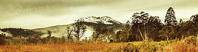 Ice Covered Mountain Panorama In Tasmania Art Print