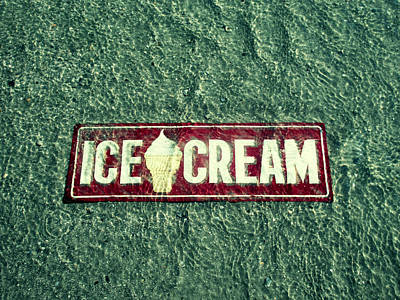 Photograph - Ice Cream Beach Sign Sea Green by Tony Grider