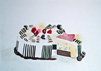 Painting - Ice Cream Cake Watercolor by Paul Thompson