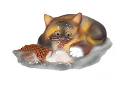 Digital Art - Ice Cream Cone For Kitten by Ellen Miffitt