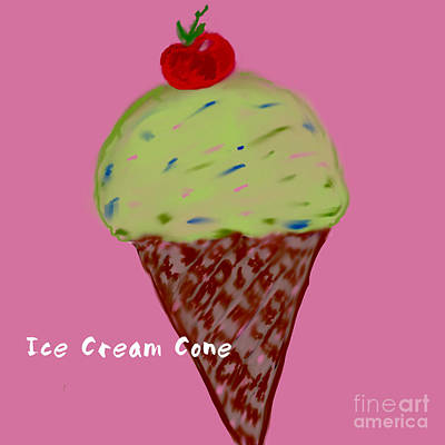 Photograph - Ice Cream Cone Illustration by Susan Garren