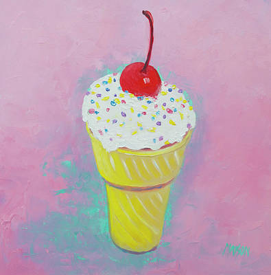 Painting - Ice Cream Cone With Cherry by Jan Matson